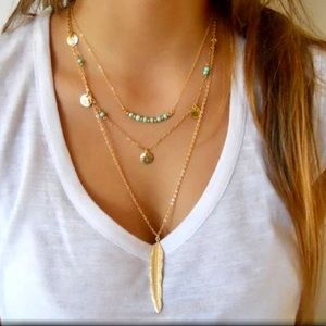 Jewelry - Multi-Layer Beaded Coin and Feather Necklace